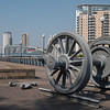 My second favourite piece of urban sculpture (after the bronze chess player at a strip mall in Plano, Tx) celebrates this area's heritage as the former Salford Docks.
