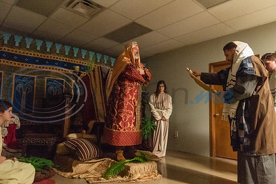Cast members act out a scene during rehearsal for a live Nativity reenactment at West Lake Baptist Church Wednesday, Dec. 11, 2019, in Chandler. (Cara Campbell/Tyler Morning Telegraph)