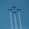 The Red bulls aerobatic team going vertical.
