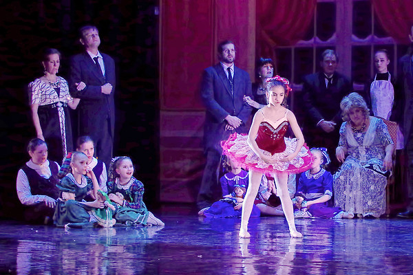 "Mark Maynard | for The Herald Bulletin<br /> To the amazement of Christmas party guests, one of Mr. Drosselmeyer's animated dolls appears to come to life in ""The Nutcracker"" ballet."