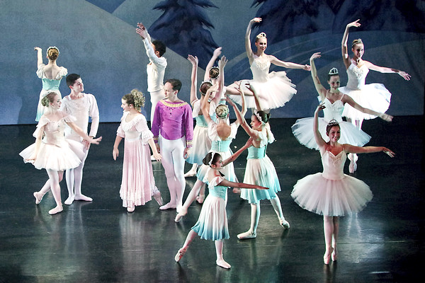 """Mark Maynard   for The Herald Bulletin<br /> The Snow  Queen welcomes Claire to the Land of Snow as Snowflakes dance about them in """"The Nutcracker."""""""