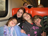 The girls, exhausted on the train-ride home.