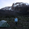 Catherine standing by our tent at Barranco camp.