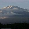 The view of Kili from our bedroom window on our first night in Moshi.