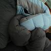 "Catherine snuggles up to ""MY!"" sleeping bag :-)"