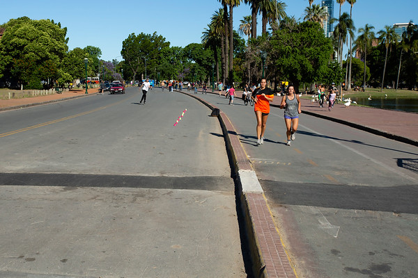 Buenos Aires is a huge city with large boulevards, but also parks and areas where people can exercise.