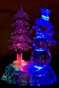 Glass tree and snowman that light up in changing colours, gift of Isabelle