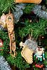 Christmas ornaments: baby Jesus, stocking, nutcracker