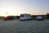 Norman's Bay Caravan site at dawn on a cold and frosty morning