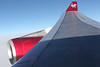 Wing of Virgin Altantic A340-300 over Greenland.<br /> 2 October 2012