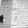 Hexagenarian going down the steps at Paro Dzong.