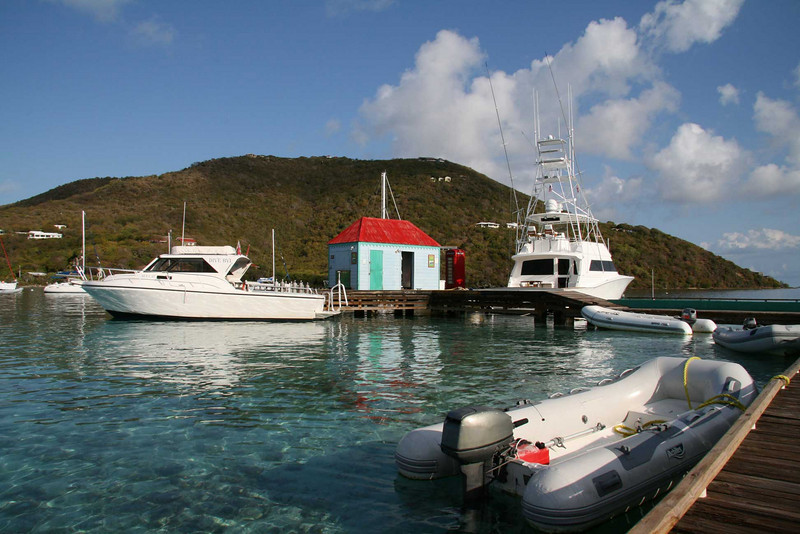 Sea Cat, our main dive boat last year sitting on the dock at Marina Cay