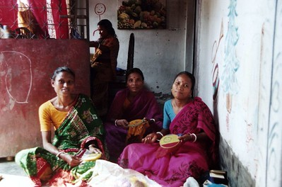 Women working on handcrafts. Bangladesh also has a flourishing rag-trade, providing T-shirts to the whole world.