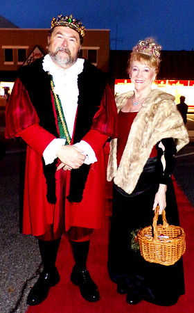 Diane Raver   The Herald-Tribune<br /> Thor Henrickson and Marcia Grant, lord and lady of the manor for the Boar's Head Festival, greeted visitors.