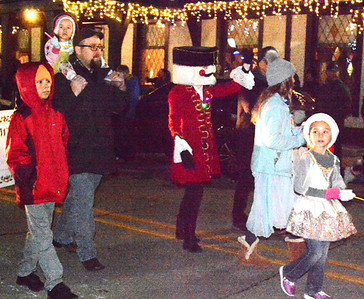 """Cincinnati Kinderballet dancers marched to advertise their Dec. 14 performance of """"The Nutcracker"""" in Batesville."""