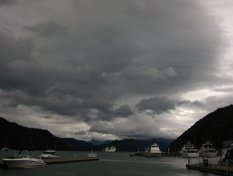 Queen Charlotte Sound in sombre mood.