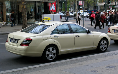 Most Berlin taxi drivers choose the Mercedes E-Class, but one or two obviously couldn't bear to drive something so common...