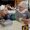 First Congregational Church hosts Billerica Community Brunch to celebrate birthday of Martin Luther King. Ava Phippen, 8, and her grandmother Jackie Phippen, both of Billerica.  (SUN/Julia Malakie)