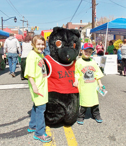 Hailey and Joshua Garner with of Boyertown's bears at Building a Better Boyertown's Coming Out of Hibernation on Saturday, April 19.