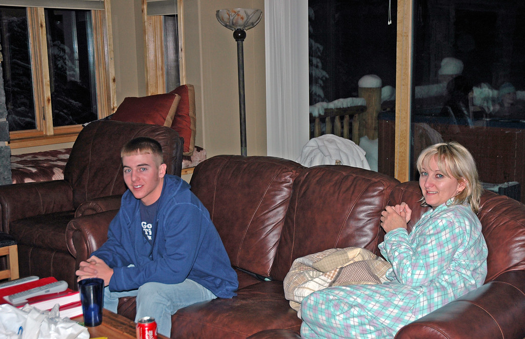 Dec 23.  Derek and Darla relax while the girls enjoy the hot tub.