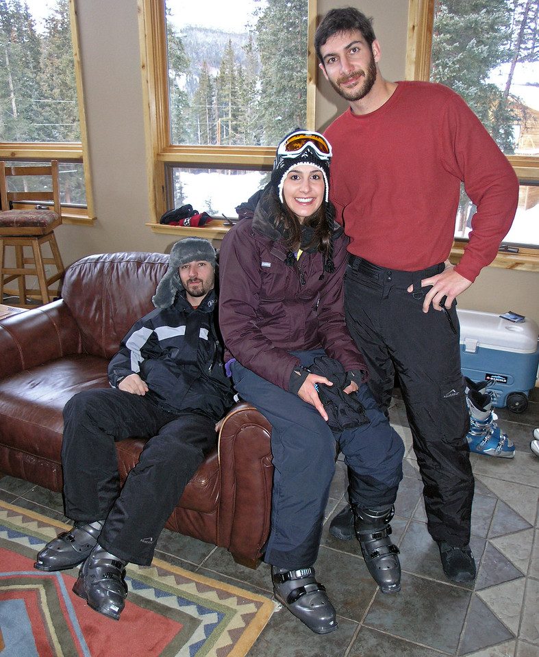Dec 22.  Dustin, Shirene, and Aaron are ready to head out for a day's skiing.
