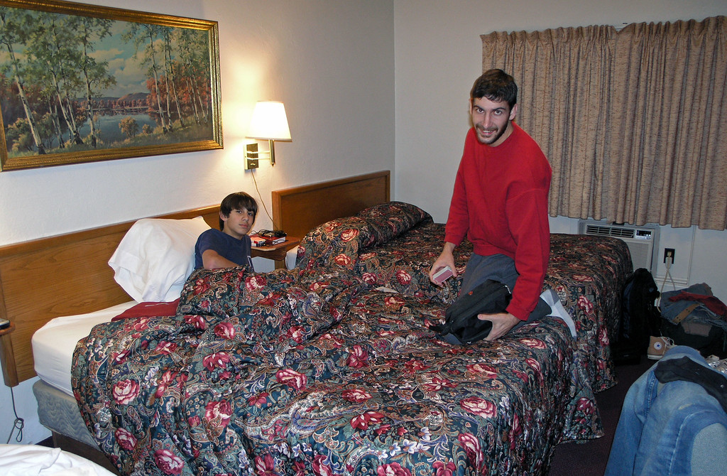 Dec 19.  In the motel in Canon City, Colorado, we had three beds, and both Aaron and Cameron were happy about that.