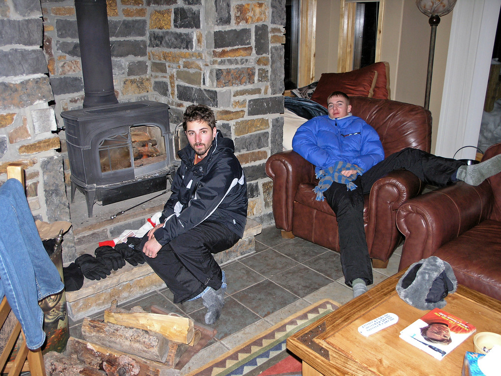 Dec 22.  After a day skiing, Dustin and Derek are tired.