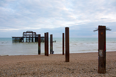 All that's left of Brighton's West Pier. It was closed in 1975, intact, but has deteriorated hugely since then. A fire in 2003 destroyed the old concert hall, and the central section collapsed during a a storm in 2004. However, the West Pier Trust has plans to rebuild the pier, partly funded by the construction of a multi-milion pound viewing tower they're starting to build on the promenade opposite the ruins of the pier.
