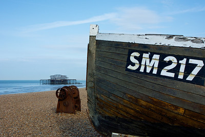 Old boat with West Pier beyond