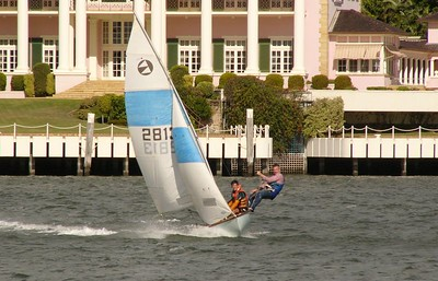 Brisbane River. 125 class dinghy. Rotated and cropped. No other image manipulation. Shot from moving catamaran