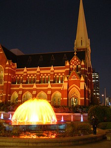 Uniting Church and fountain at night. Taken with FZ10. Handheld. Unprocessed. I think my hand was reasonably steady for this one!