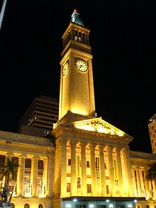 Brisbane Town Hall at night. Taken with FZ10 (hand-held). Unprocessed (but remind me to remove that flag post in the top left corner one day!