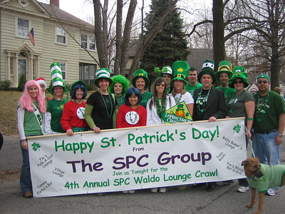The SPC entry in the Brookside St. Patrick's Parade.  Even Roxie the pooch was dressed in green.