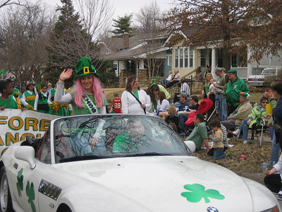 "Rachel works the crowd as the enigmatic ""Mss SPC"" with her driver Mark in the shamrock beamer."