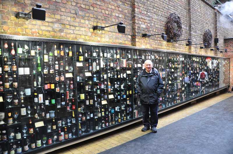Andy Wison in front of the biggest wall of beer he has ever seem. Bruges, Belgium