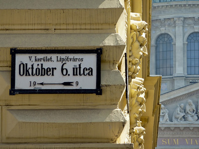 Street sign, presumably a significant date in Budapest's turbulent past.