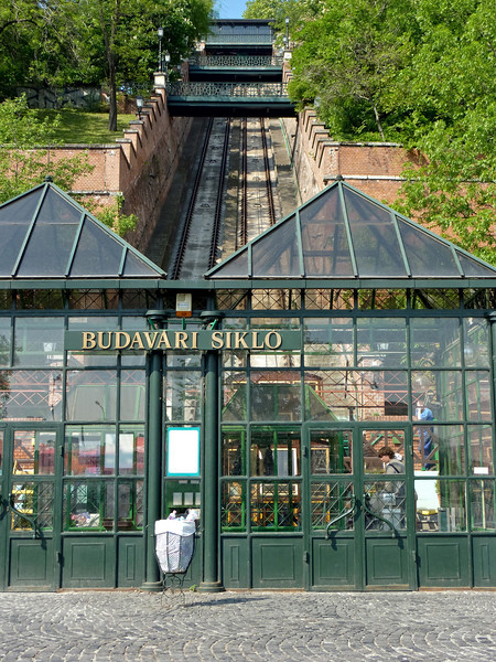 The bottom of the funicular railway