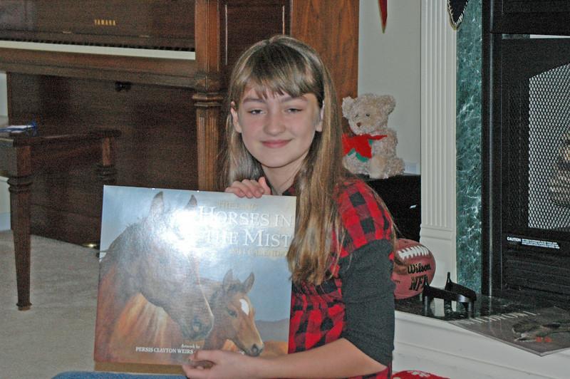 Brooke loves horses. Her pony's name is Dakota.