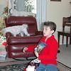 Dalton checking his stocking.