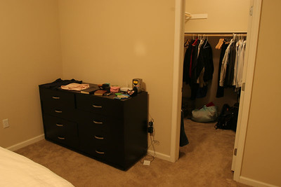 A matching dresser, also from Scandinavian Designs.  Also, a peek into the walk-in closet.  There's an identical closet in the guest bedroom as well.