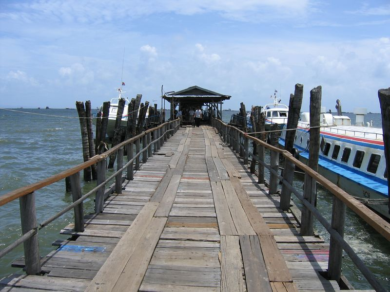 Jetty to the speed boat on my way out of Cambodia.  It looks all over the place because it is.