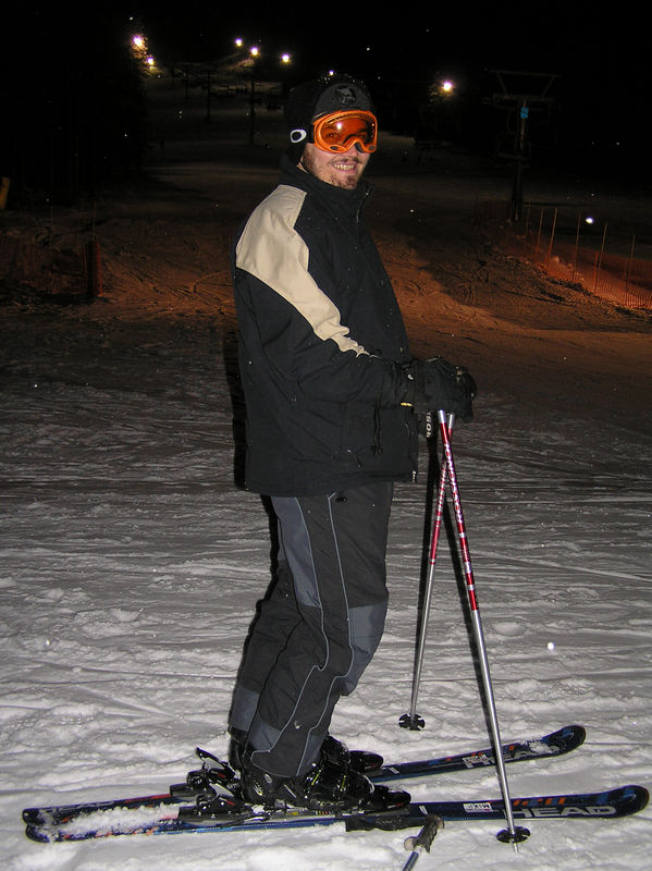 Mike night skiing at Banff Norquay