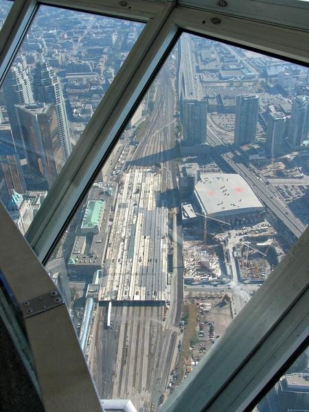 Toronto's railway station some way below
