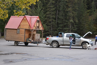 Bow Falls in Banff - Outdoor Spirit with interesting caravan