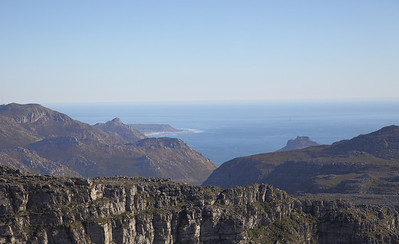 On top of Table Mountain, Cape Town, South Africa.Taken towards Hout Bay