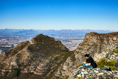 The view from the top of Table Mountain over Devil's Peak, Cape Town