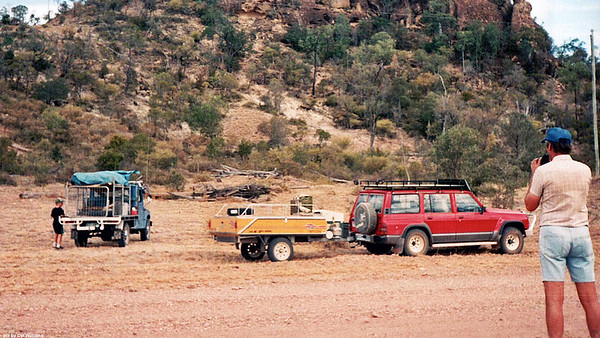 My 4x4 camping mate & his son took their blue Diahatsu F-55 with a Toyota 22-R 4 cyl engine mated to a Toyota Celica 5 speed box, on a bush adventure in Part of Carnarvon National Park which is not known to most tourists. We took our Ford Maveric (Nissan Patrol) 6cyl gasoline 4x4 rig towing our trusty & comfortable Aussie Swag camper trailer. I climbed the rocky hill shown. Great view. Stone workings by local natives back in the old days. Had lunch there.