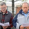 St. Camillus Church Carolers HJoseph Brouillet and Roland Vallee sing Christmas songs on Main Street with other carolers as they mark the one year anniversary of Sandy Hook. SENTINEL & ENTERPRISE/JOHN LOVE