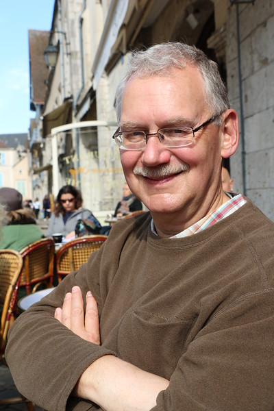 Paris 2013 - Tour of Chartres - Cafe by Cathedral- Cliff Enjoying Some Sun (V)