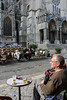 Paris 2013 - Tour of Chartres - Cafe by Cathedral - Cliff with Cathedral in Background (V)